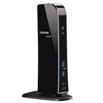 Toshiba Dynadock U3.0 - USB 3.0 Port Replicator Предназначен за: Преносим компютърUniversal docking solution for USB 3.0 / USB 2.0Built-in dual screen HD graphics card for resolutions up to 2048 x 11521x HDMI, 1x DVI-I port (simultaneously usable)4x USB 3.0, 2x USB 2.0 ports (2x USB 3.0 with Toshiba USB Sleep-and-Charge technology in front) 5.1 audio (3.5mm audio out) port