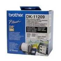 Brother DK-11209 Small Address Paper Labels, 29mmx62mm, 800 labels per roll, (Black on White) Brother QL-500/QL-550