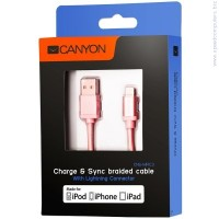 CANYON CNS-MFIC3GO Braided USB to lightning cable Rose gold кабел за iPhone
