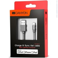 CANYON CNS-MFIC2DG flat cable USB to lightning cable Dark Gray кабел за iPhone