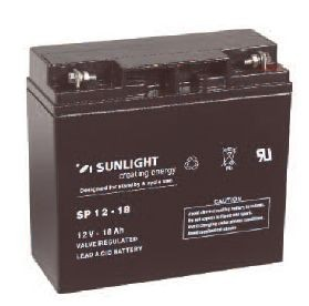 Sunlight VRLA Battery SP 12-18 • Dimensions L x W x H: 181 x 77 x 167 mm• Weight: 5.7 kg• Type of Terminals: 2 x F2• Self discharge per month at 20C: 3%