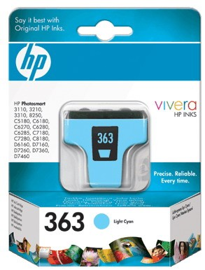 HP 363 Light Cyan Ink Cartridge HP Photosmart 3110/3210/3310/D6160/D7160/D7260/D7360/D7460, HP Photosmart C5180/C6180/C6270/C6280/C6285/C7180/C7280/C8180, HP Photosmart 8250