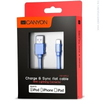 CANYON CNS-MFIC2BL flat cable USB to lightning cable Blue кабел за iPhone