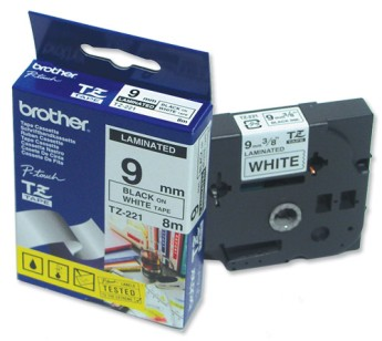 Brother TZ-221 Tape Black on White Laminated 9mm - Eco PT-1100, 1130, 1150, 1150DX