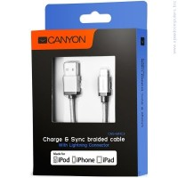 CANYON CNS-MFIC3DG Braided USB to lightning cable Dark Gray кабел за iPhone