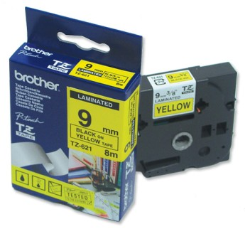 Brother TZ-621 Tape Black on Yellow, Laminated, 9mm Eco PT18R/1850/2400/2450/550/2500/1280/1830/1010/1230/2430/7100/7600/GL200/1090