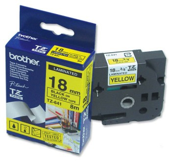 Brother TZ-641 Tape Black on Yellow, Laminated, 18mm Eco PT18R/ 1850/ 2400/ 2450/ 550/ 2500/ 1830/ 2430/ 7600