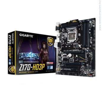 Дънна платка Gigabyte Z170-HD3P • ПроцесорSupport for Intel® Core™ i7 processors/Intel® Core™ i5 processors/Intel® Core™ i3 processors/Intel® Pentium® processors/Intel® Celeron® processors in the LGA1151 packageL3 cache varies with CPU