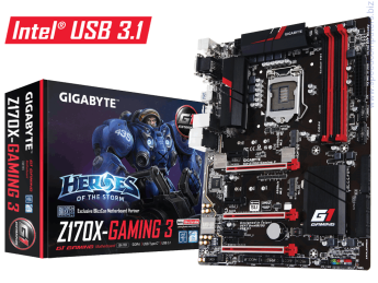 Дънна платка Gigabyte Z170X-GAMING 3 • ПроцесорSupport for Intel® Core™ i7 processors/Intel® Core™ i5 processors/ Intel® Core™ i3 processors/Intel® Pentium® processors/ Intel® Celeron® processors in the LGA1151 packageL3 cache varies with CPU