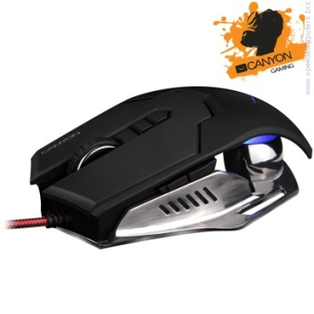 "Мишка CANYON Gaming Mouse CND-SGM6 Hazard CANYON Gaming Mouse CND-SGM6 ""Hazard""(Wired, Optical 500/800/1600/3500 dpi, 6666 fps, 125/250/500/1000Hz, 20g, 7 btn, USB), Black"
