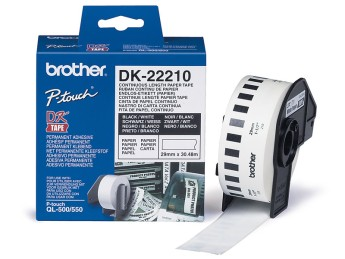 Brother DK-22210 Roll White Continuous Length Paper Tape 29mmx30.48M (Black on White) Brother P-Touch QL-500, QL-550, QL-650TD, QL-1050