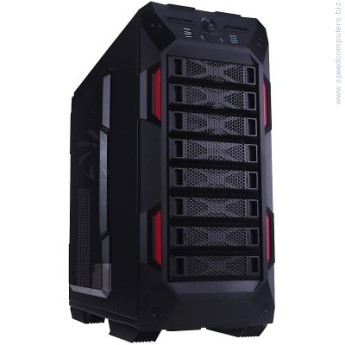 "Кутия In Win GR One Full Tower E-ATX Черен/червен кутия In Win GR One Full Tower E-ATX(12""x13"") 0.8mm SECC Steel,3.5""x8 or 2.5""x8,3.5""/2.5"" SATA HDD EZ-Swap x1, USB 3.0x2,USB 2.0x2,HD/AC'97 Audio,Fan Speed Controller, Supports up to Total 120mm or 140mm Fan x 10, Water-Cooling Ready,Black/Red"