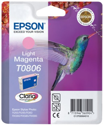 Epson Singlepack Light Magenta T0806 Claria Photographic Ink Stylus Photo R265/360,RX560,PX700W,PX800FW