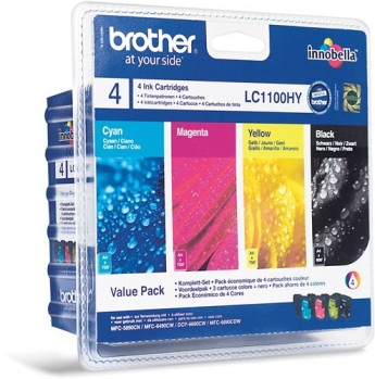 Brother LC-1100HY BK/C/M/Y VALUE BP Ink Cartridge High Yield Set Принтери Brother DCP-6690CW, MFC-5890CN, MFC-5895CW, MFC-6490CW, MFC-6890CDW