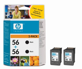HP 56 Black Inkjet Print Cartridge 2-pack (2xC6656AE) Съвместимост : HP PSC 1215/1315/1350 и HP Officejet 4215/4255/5510/6110Цвят : ЧеренC9502AE