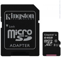 KINGSTON 64GB microSDXC Class 10 UHS-I G2 + SD адаптер карта памет
