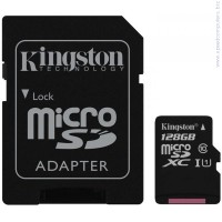KINGSTON 128GB microSDXC G2 Class 10 UHS-I  + SD Adapter Карта памет
