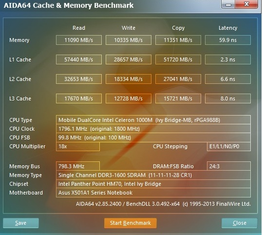 Asus X501A aida cache and memory