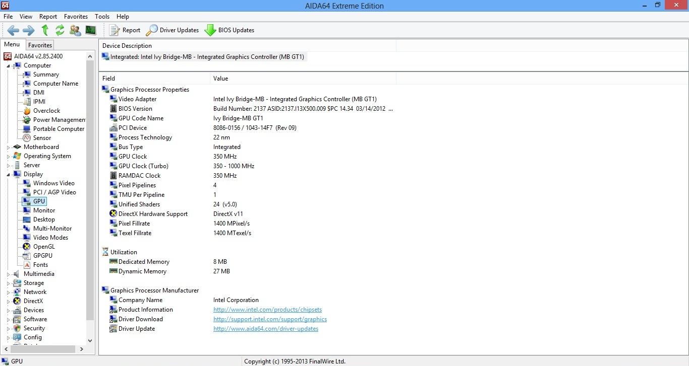 Asus X501A aida gpu info