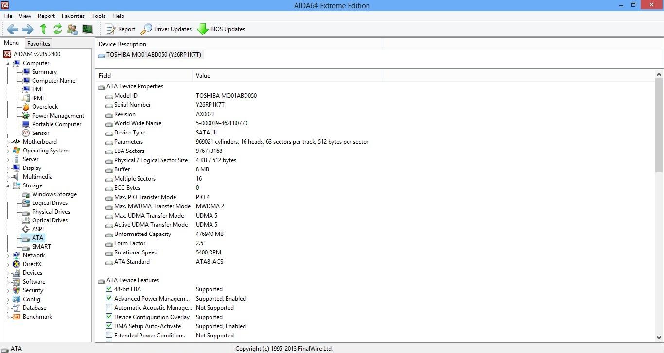 Asus X501A aida hdd info