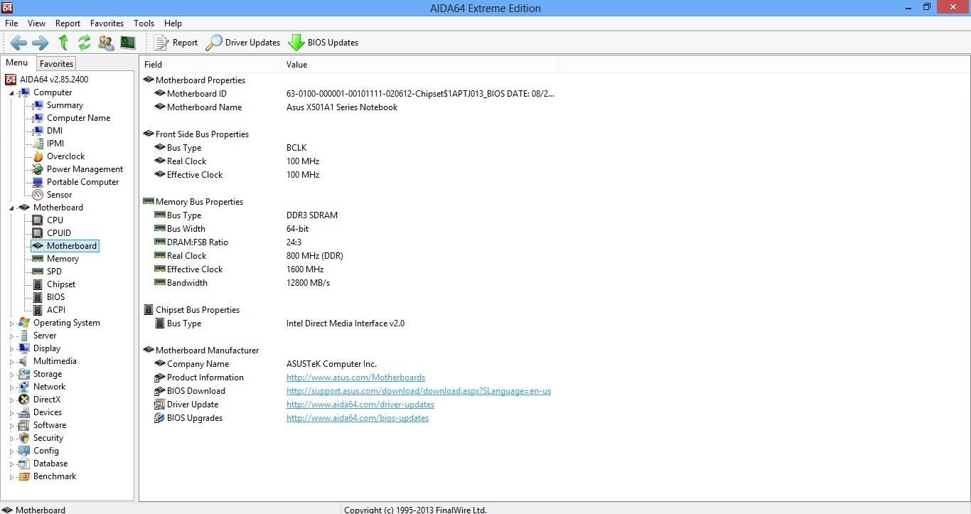 Asus X501A aida mb