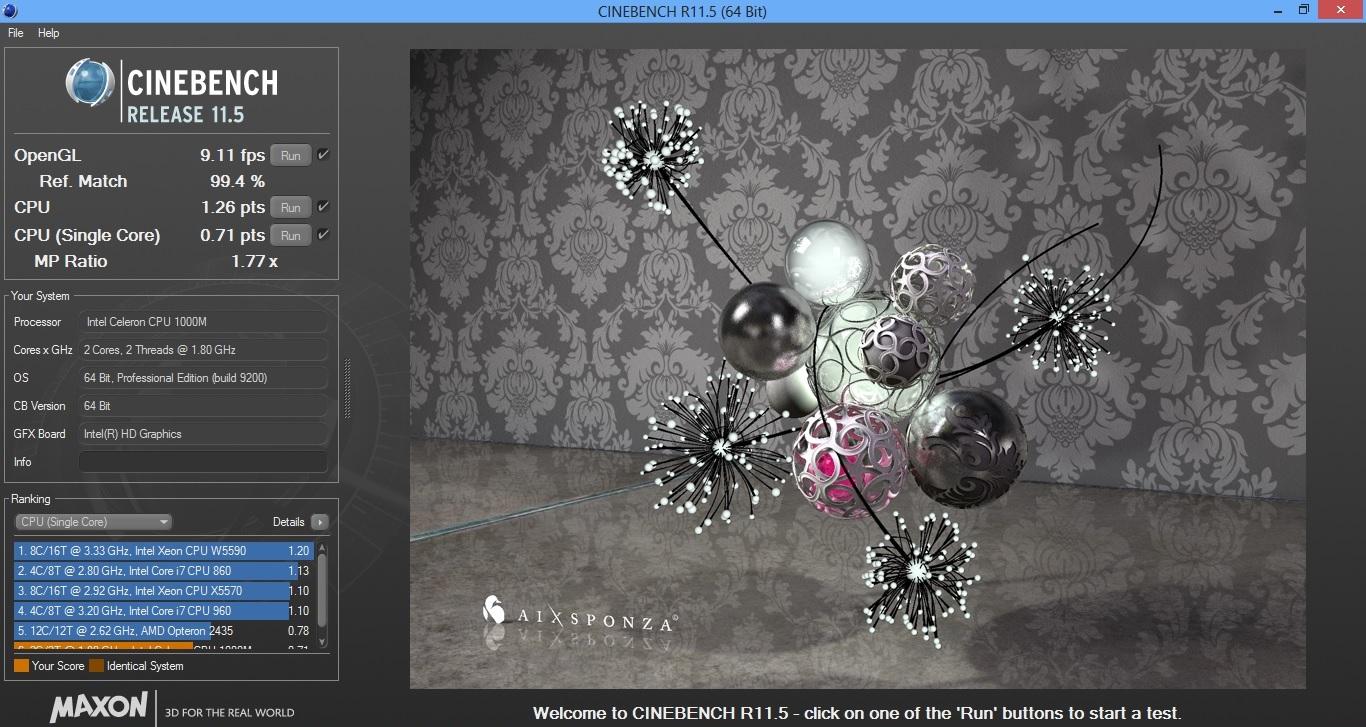 Asus X501A cinebench 11.5