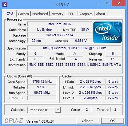 Asus X501A cpu-z main