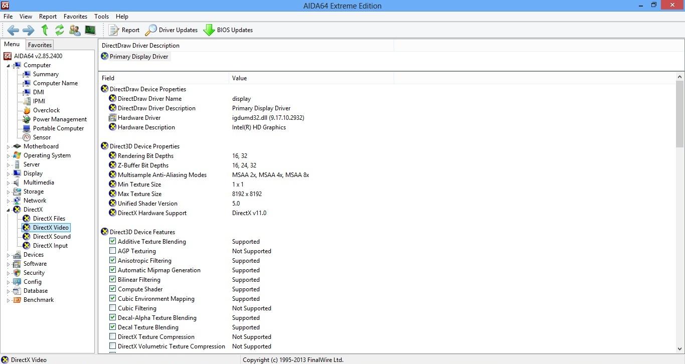 Asus X501A DirectX 11