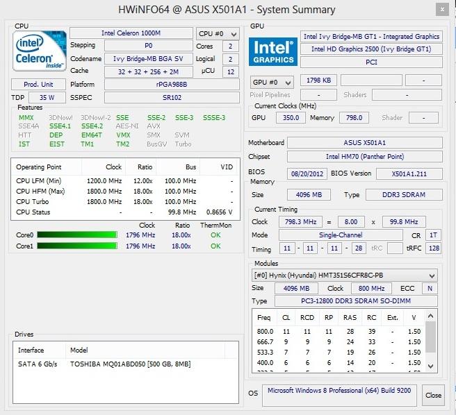 Asus X501A hwinfo64