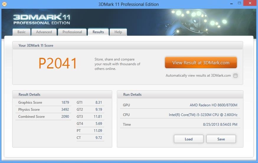 HP ProBook 450 3dmark11