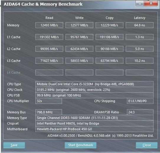 HP ProBook 450 aida cache and memory