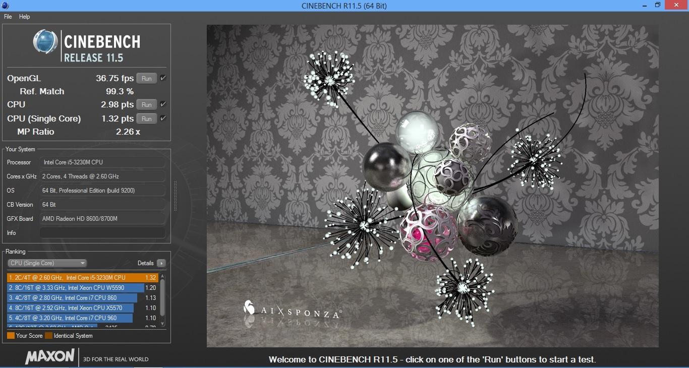HP ProBook 450 Cinebench 11.5