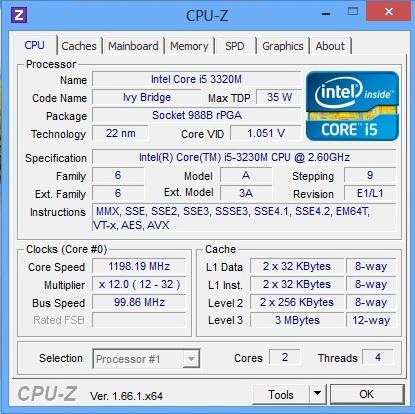 HP ProBook 450 cpu-z main