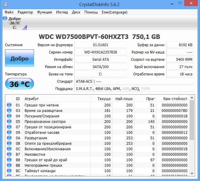 HP ProBook 450 crystal disk info