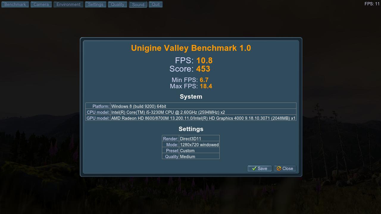 HP ProBook 450 Unigine Valley
