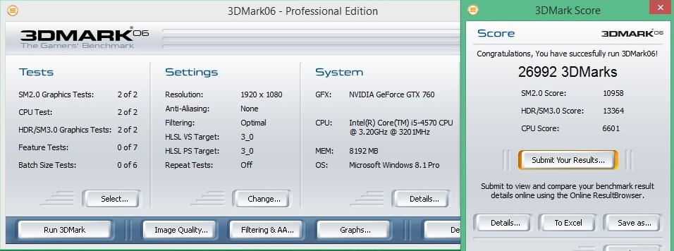 Speed Game Pro I GTX 760 3DMARK06 1080p