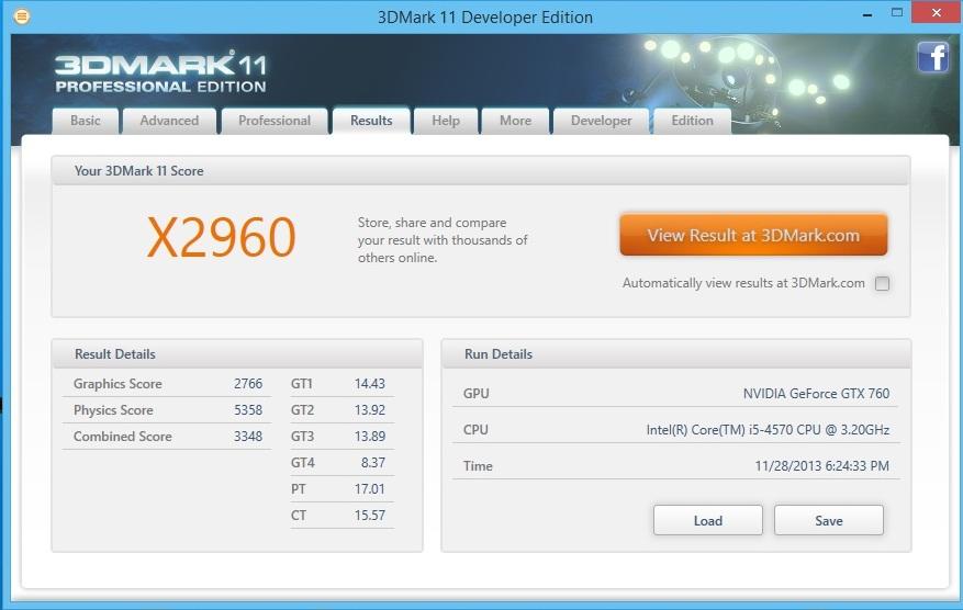 Speed Game Pro I GTX 760 3DMARK11 Extreme 1080p