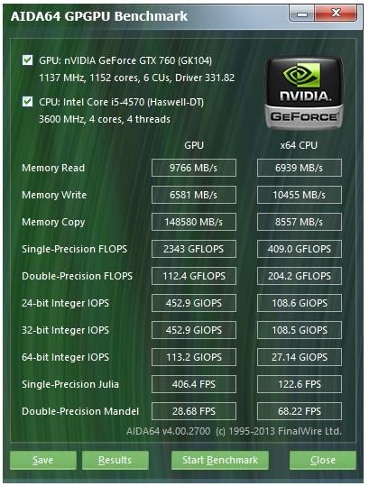 Speed Game Pro I GTX 760 aida gpgpu test