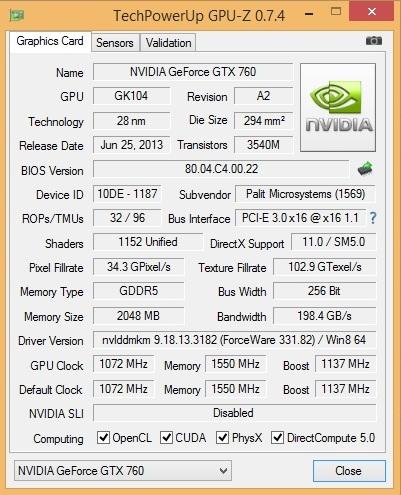 Speed Game Pro I GTX 760 gpu-z