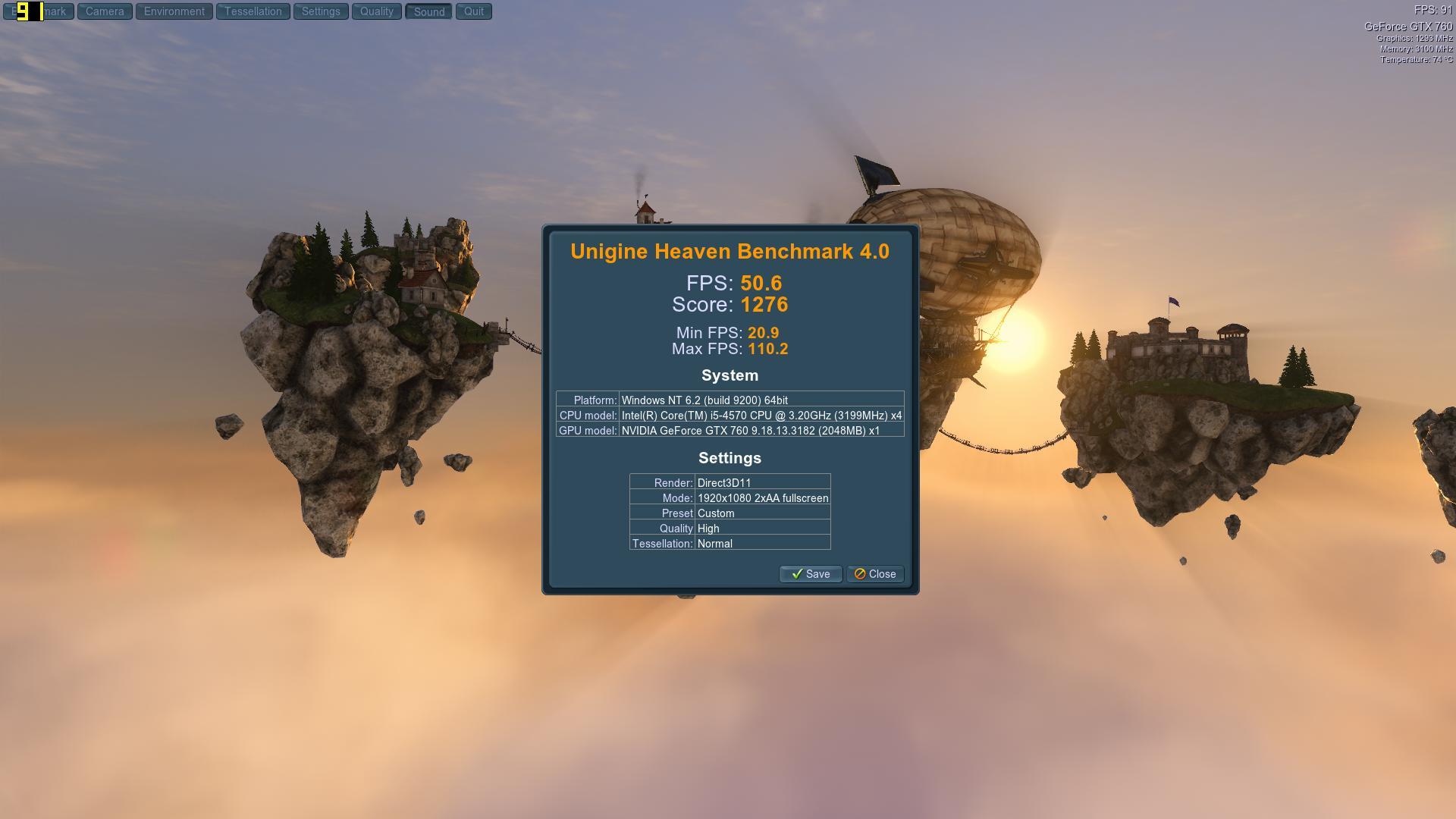 Speed Game Pro I GTX 760 Heaven HighNormal2AA