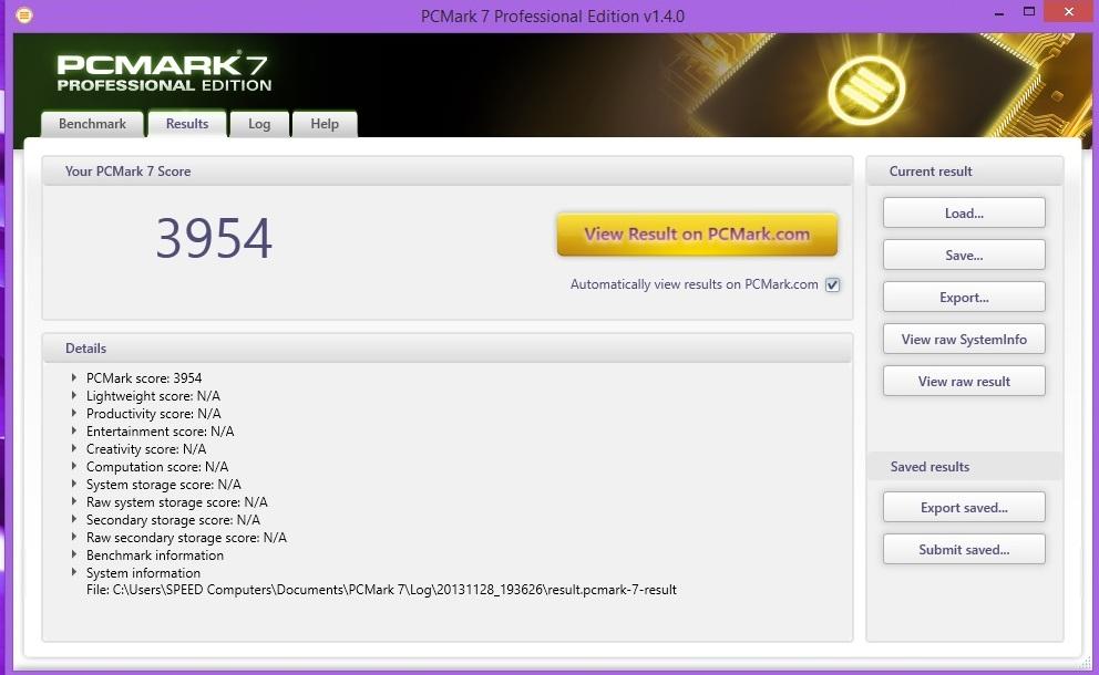 Speed Game Pro I GTX 760 PCMARK 7