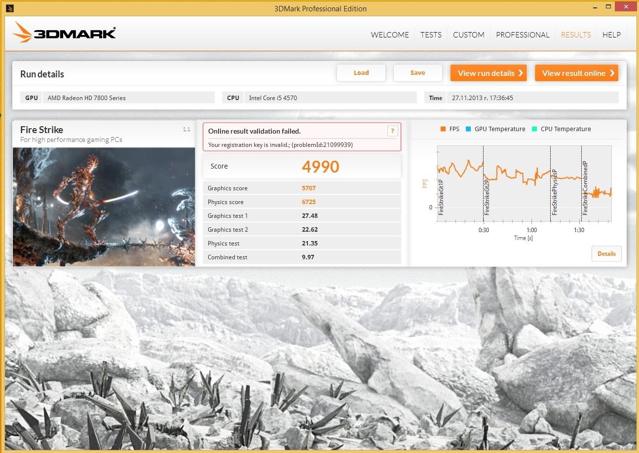 Speed Game Pro I HD7870 3DMARK13 FireStrike 1080p