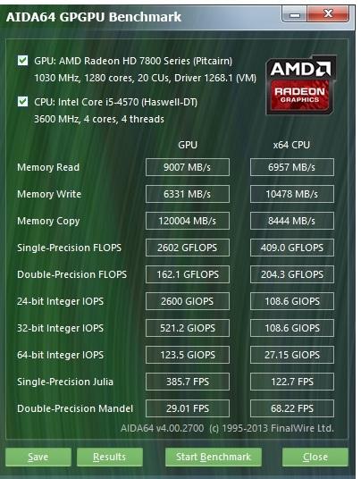 Speed Game Pro I HD7870 aida gpgpu test