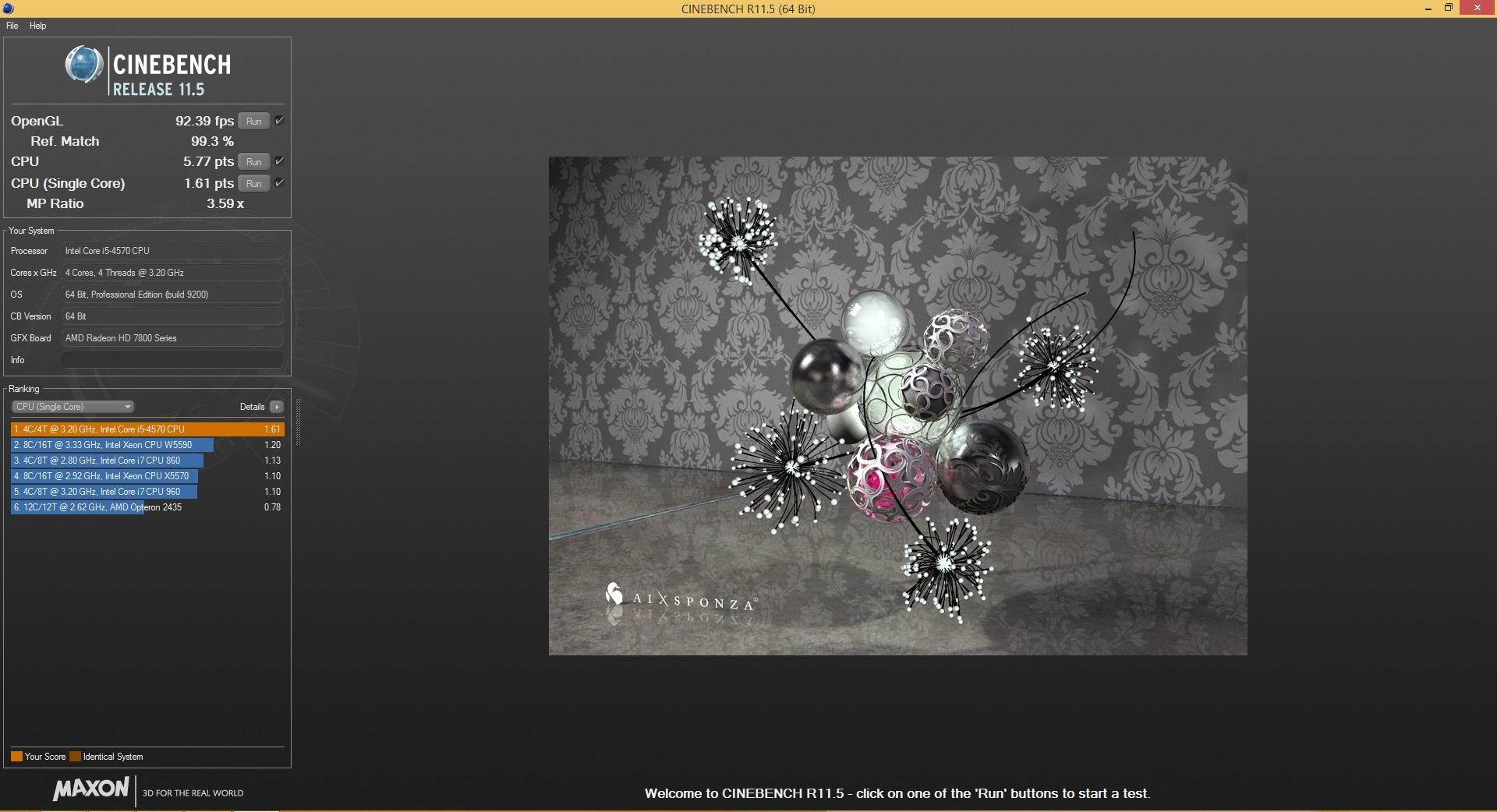 Speed Game Pro I HD7870 Cinebench 11.5