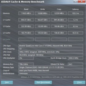 Asus GL552 cache and memory test