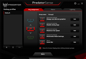 Acer Predator G9 791 hotkeys