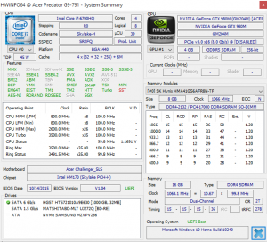 Acer Predator G9 791 system info