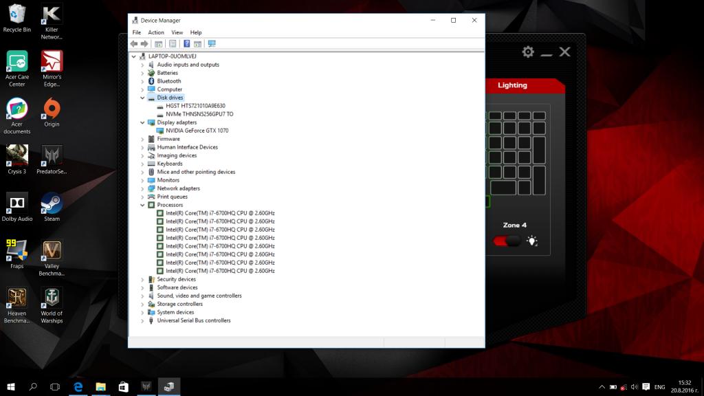 Acer predator G9-593 with GTX 1070 video