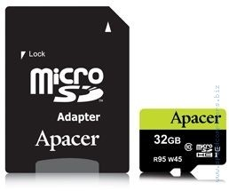 Карта памет Apacer 32GB micro SDHC UHS-I Class 10 (1 адаптер) Apacer 32GB micro-Secure Digital HC UHS-I Class 10 + Адаптер