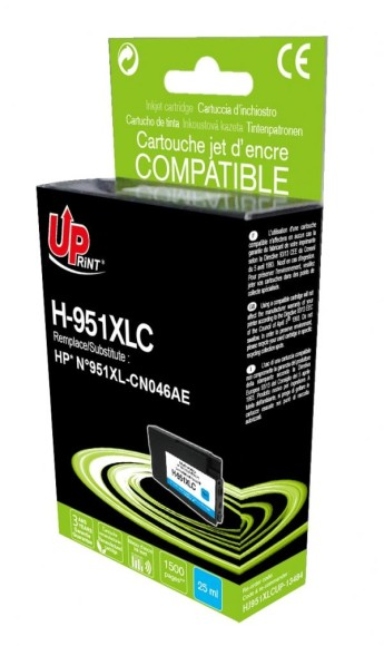 Мастилница заместител CN046AE HP, Cyan Compatible with: HP OFFICEJET PRO 8100/ PRO 8600/ PRO 8600 PLUS/ PRO 8610/ PRO 8615/ PRO 8620/ PRO 8625/    PRO 8630/ PRO 8640/ PRO 8660 Capacity :  25 ML Page yield:   1500 pages Color: Cyan
